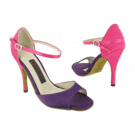 Chaussures de Tango/Salsa satin rose & violet T1102-33