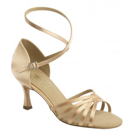 1403 Supadance - Chaussures de danse latine à brides et lanière tour de cheville en satin flesh