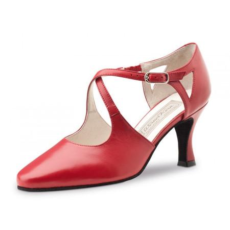 Ines Werner Kern - Chaussure en cuir rouge bride croisée