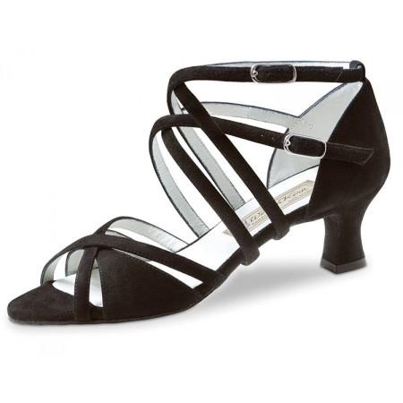 Eva Werner Kern - Chaussures de danse à doubles lanières en daim noir