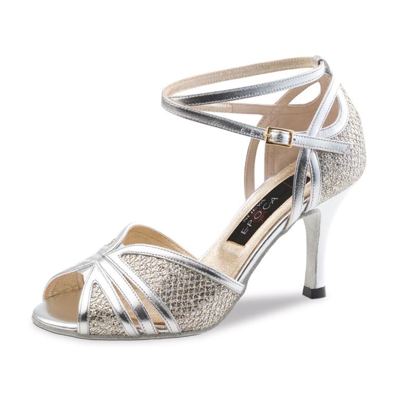 Pearl Nueva Epoca - Chaussures de danse en cuir argent et brocart