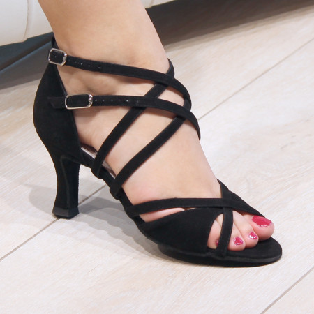 Irina Werner Kern - Chaussures de danse pour femmes en daim noir pour pieds fins