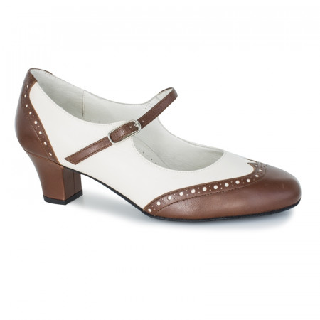 Emma Werner Kern - Chaussures de boogie, swing en cuir brun et crême