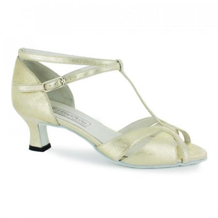 Dora Werner Kern - Chaussures de danse bride salomé et croisée en cuir nude perlé