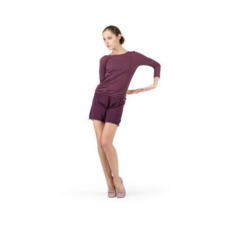 Short de danse en tricot fin en coloris violet et taupe - Repetto