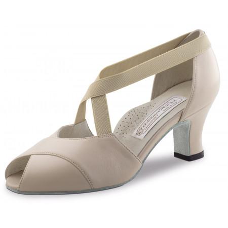 Kelly Werner Kern - Chaussures de danse ouverte à brides élastiques en cuir beige