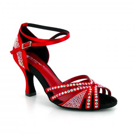 Chaussures de danse ouvertes en satin rouge et strass - Lidmag