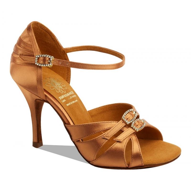 Chaussures de danse latine SupaDance. Modèle 1057 réglable en largeur. Satin couleur Tan. Talon Stiletto : 6,5 ou 7,5cm.