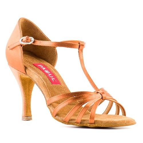 Chaussures de danse latine pour femmes de chez Paoul. Modèle108 à bride salomé et bouts ouverts à lanières. Talon : 8cm.