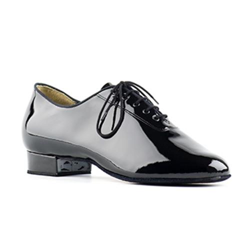 Chaussures de danse standard pour hommes de la marque Paoul. Modèle 2050 en cuir verni noir. Talon : 3cm.