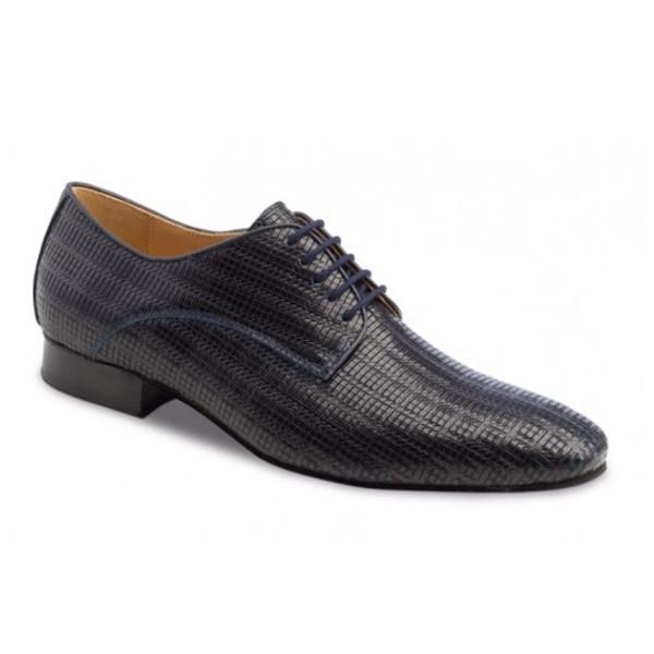 Chaussures de danse hommes de chez Werner Kern. Modèle 28043 en cuir bleu. Talon : 2,5cm.