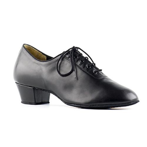 Chaussures de danse latine pour hommes de chez Paoul. Modèle 801 en cuir noir à lacets. Talon : 4cm.