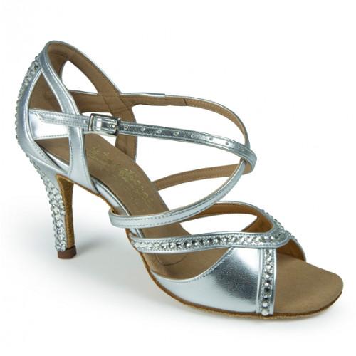 Chaussures de danse femmes de chez International Dance Shoes. Modèle Bianca en argent à bouts ouverts et à strass Swarovski. Talon : 6,5-7,5 ou 9cm.
