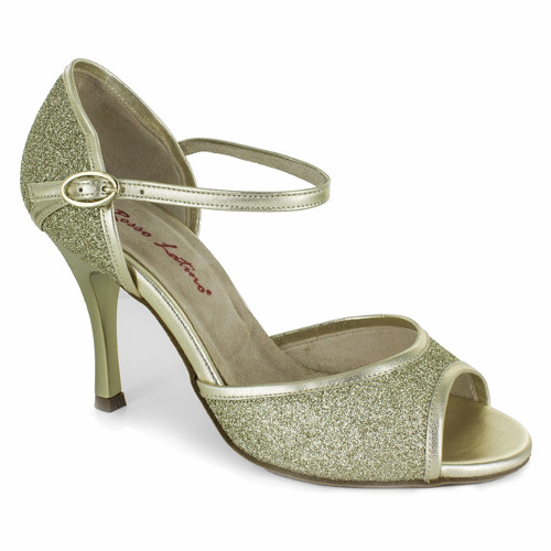 Chaussures de danse pour femmes personnalisée de chez Rosso Latino. Modèle BL02 en cuir doré et tissu à paillettes dorées. Talon : de 5 à 10 cm (large, fin ou évasé).