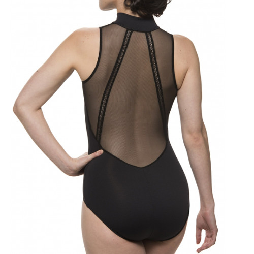 Justaucorps de danse classique pour femmes de la marque Ainsliewear. Modèle Bryn à résille dans le dos. Coloris Noir