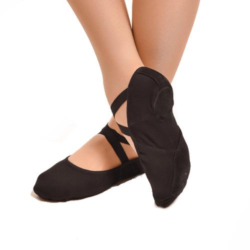 Chaussons de danse classique type demi-pointes de la marque Dansez Vous (anciennement Dttrol). Matière en tissu stretch avec élastiques, bi-semelle. Coloris Noir. Modèle Vanie