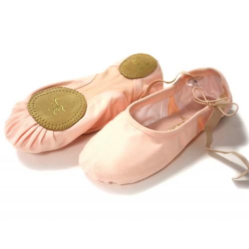 Chaussons de danse classique (demi-pointes) en tissu de la marque Gaynor Minden. Modèle Joy. Bi-semelle en cuir suède.