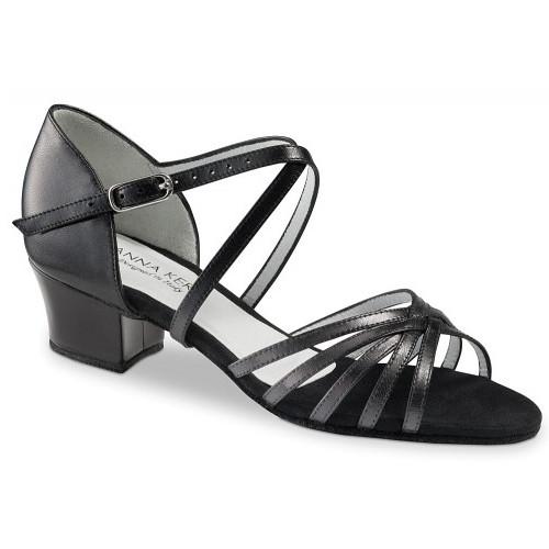 Chaussures de danse de salon pour femmes de la marque Anna Kern. Modèle 581-35 à bouts ouverts à lanières. Talon cubain : 3,5cm.