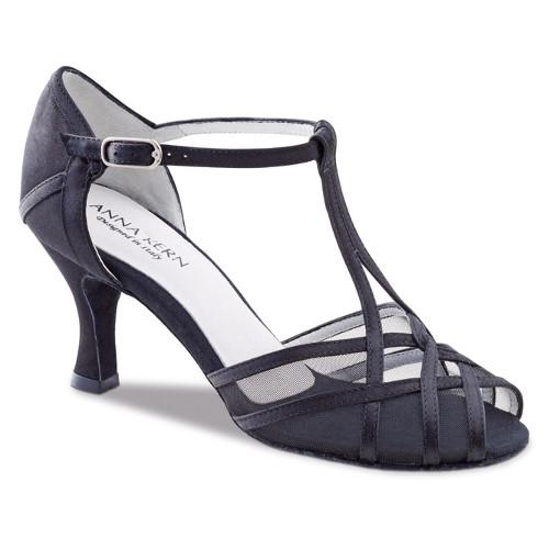 Chaussures de danse de salon de la marque Anna Kern. Modèle 640-60 en cuir et satin noir et résille transparente. Talon : 6cm. Bride Salomée en T.