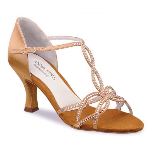 Chaussures de danse femmes de la marque Anna Kern Kern. Modèle 919-60 à bouts ouverts avec lanières strassées. En satin couleur bronze. Talon : 6cm.