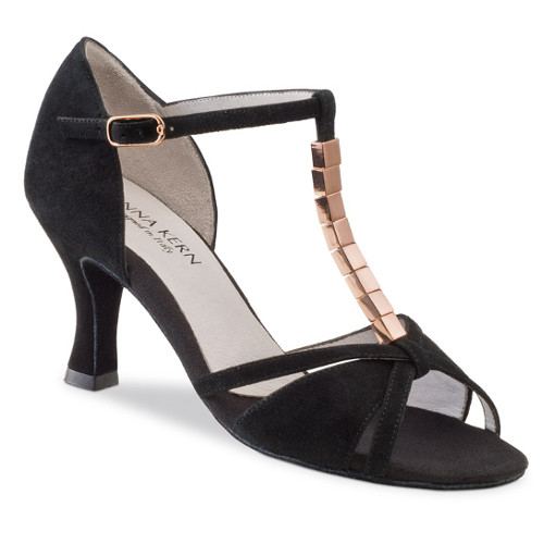 Chaussures de danse femmes de la marque Anna Kern. Modèle 690-60 en daim noir avec Bride en T (Salomé) décoré de métal cuivré. Talon : 6cm.