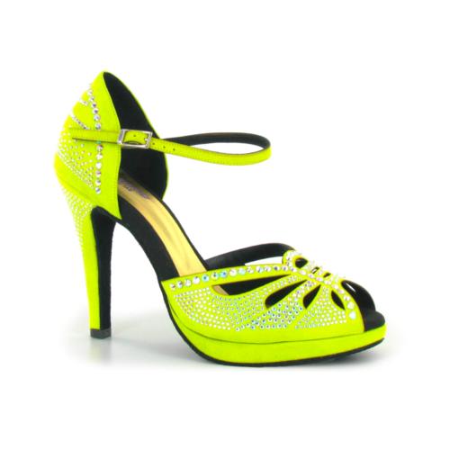 Chaussures de Danse Jaune Fluo en Nubuck avec des Strass Brillants. Marque Lidmag. Talon 10cm avec Plateau à l'Avant