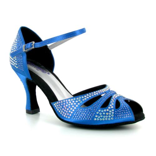 Chaussures de Danse en Satin Bleu pour Femme Décorées de Strass - Marque Lidmag - Talon 8cm