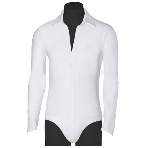 Chemise body de danse sportive idéal pour débuter la compétition (séries F, E et D) de la marque Intermezzo. Existe pour homme et pour enfant (garçon). Coloris Blanc.