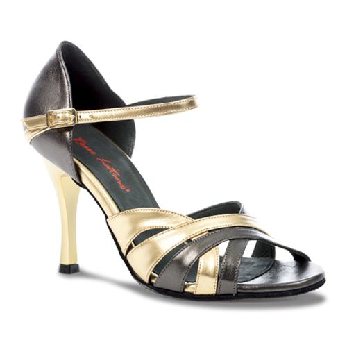 Chaussures de danse latine pour femme à personnaliser de chez Rosso Latino. Modèle Elva à bouts ouverts à lanières et bride à la cheville. Coloris or et noir. Talon : de 5 à 11cm (fin, large ou évasé).