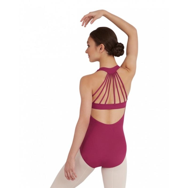 Justaucorps de danse Capezio violet à bretelles fantaisie dans le dos. Modèle TC003.