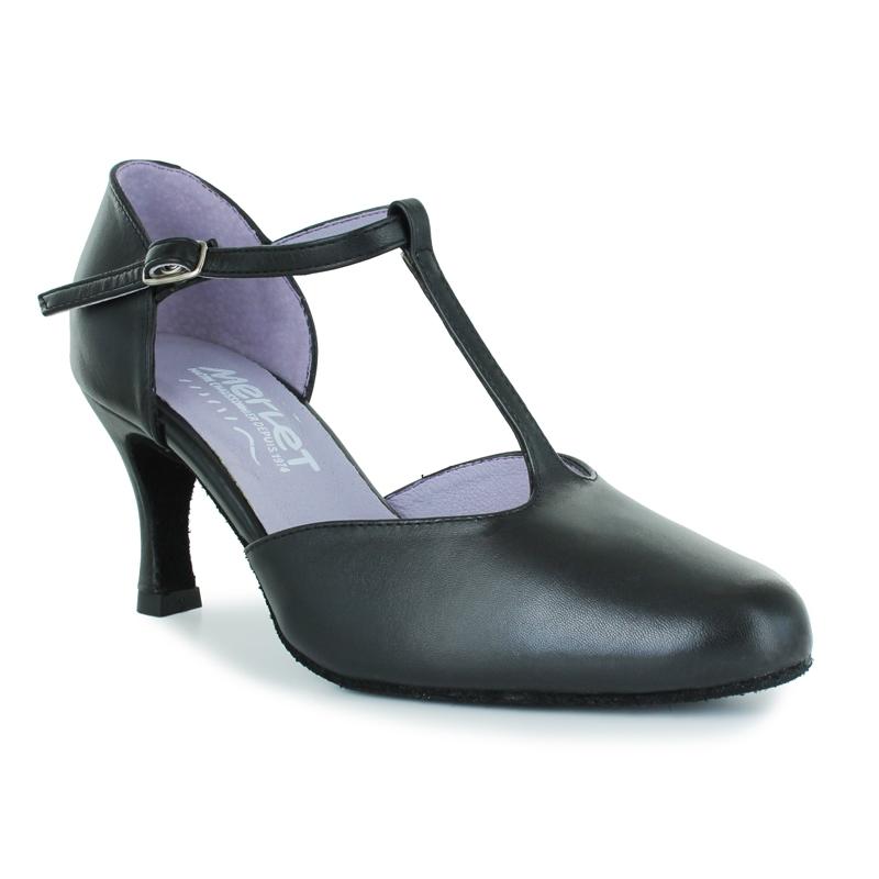 Chaussures de danse de salon à bouts fermés et bride salomée. Modèle Nina de la marque Merlet. Talon : 6,5cm