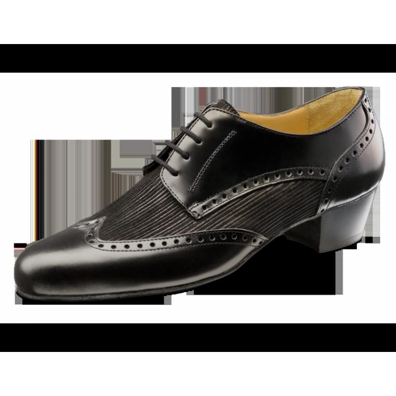 Chaussures de danse hommes de chez Nueva Epoca. Modèle Palermo en cuir nappa et velours rayé. Semelle Cuir Suède. Talon Cubain : 3,5cm.