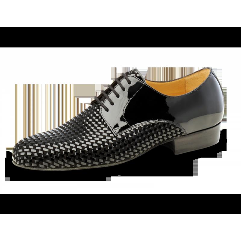 Chaussures de danse hommes de chez Nueva Epoca. Modèle Rio Negro. Cuir Nappa Noir et Cuir Suede.  Talon : 2,5cm.