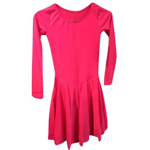 Robes de danse sportive rose pour femmes ou pour enfants (filles) de la marque Intermezzo. Manches longues avec mouvement, idéal pour les danses latines et standards.