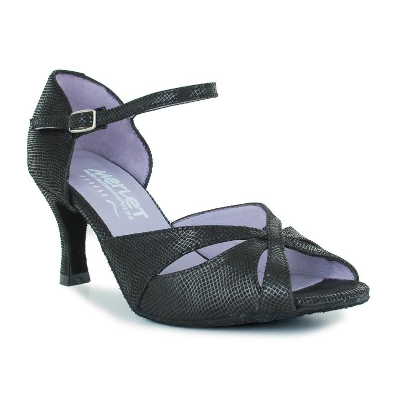 Chaussures de danse de salon Merlet. Modèle Saphir. Cuir noir imprimé python. Talon : 6,5cm