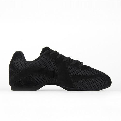 Baskets de danse style sneaker de la marque Rumpf. Modèle Sparrow 1572 en cuir et toile noir ultra souple.
