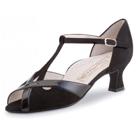 Nadja Werner Kern - Chaussures de danse ouverte en nubuck et verni noir