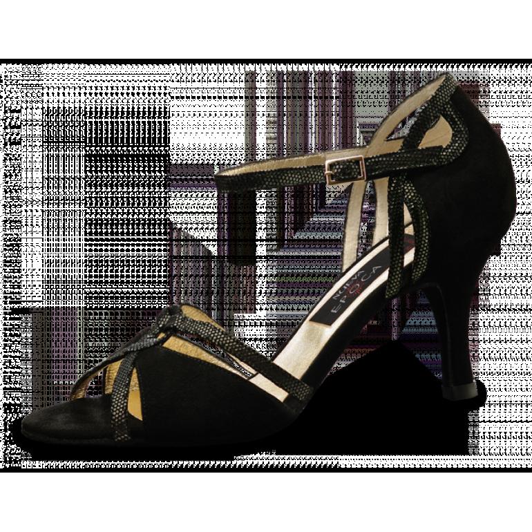 Christina Nueva Epoca - Chaussure de danse cuir suède noir semelle cuir lisse