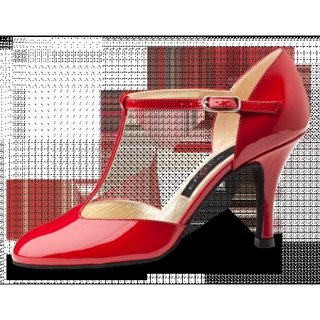 Roslyn Nueva Epoca - Chaussure de tango argentin rouge vernie semelle cuir lisse