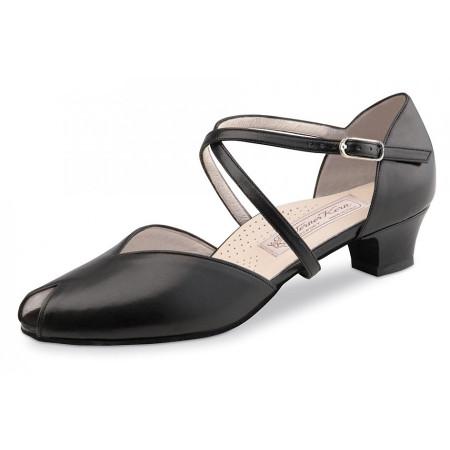 Rachel Werner Kern - Chaussure de danse en cuir noir avec avant ouvert