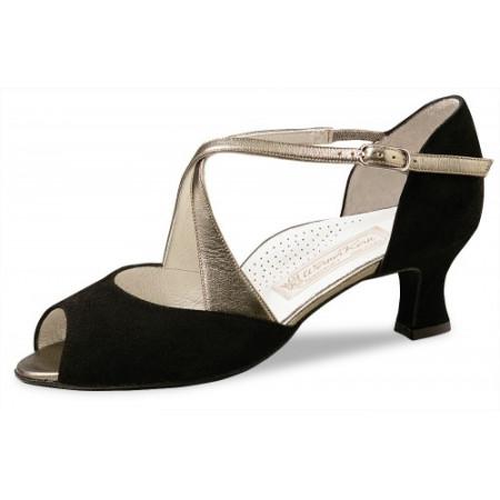 Gaby Werner Kern - Chaussures de danse pour femmes en daim noir et cuir antik