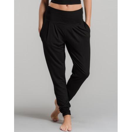 Pantalon de yoga mi-large en viscose noir - Vivant - TempsDanse
