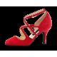 Marissa Nueva Epoca - Chaussures de danse double lanière croisée en cuir suede rouge