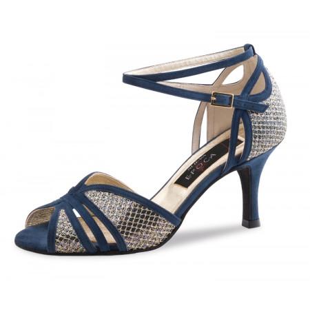Donna Nueva Epoca - Chaussures de danse bleu nuit et broderie or
