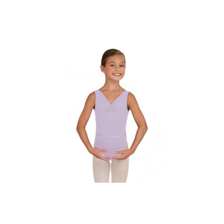 Justaucorps de danse enfant avec col en V et fine bande sur la taille - Capezio