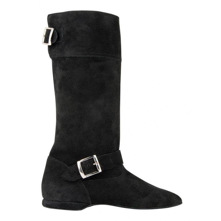 Botte de West Coast Swing - WCS en cuir nubuck noir