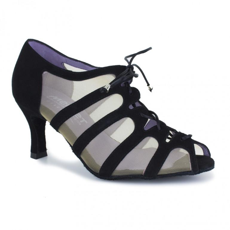 SYA Merlet - Chaussure de danse en daim noir et résille