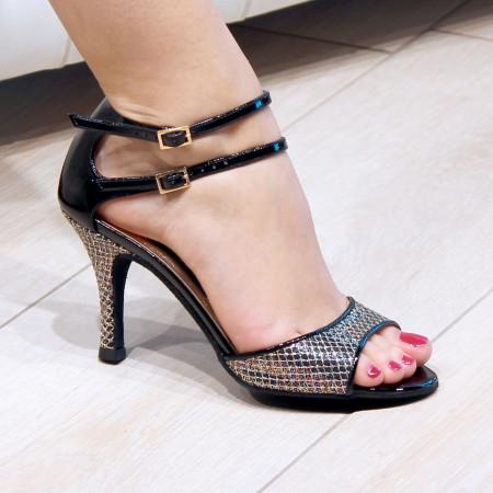 Cecila Nueva Epoca - Chaussure de danse pailletée cuir imprimé