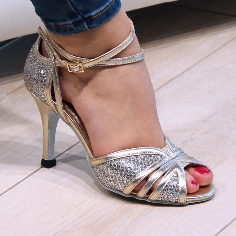 Gloria Nueva Epoca - Chaussure de danse dorée et argentée