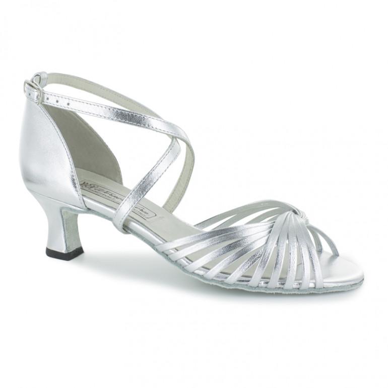 Mary Werner Kern - Chaussures de danse bride croisée en cuir argenté